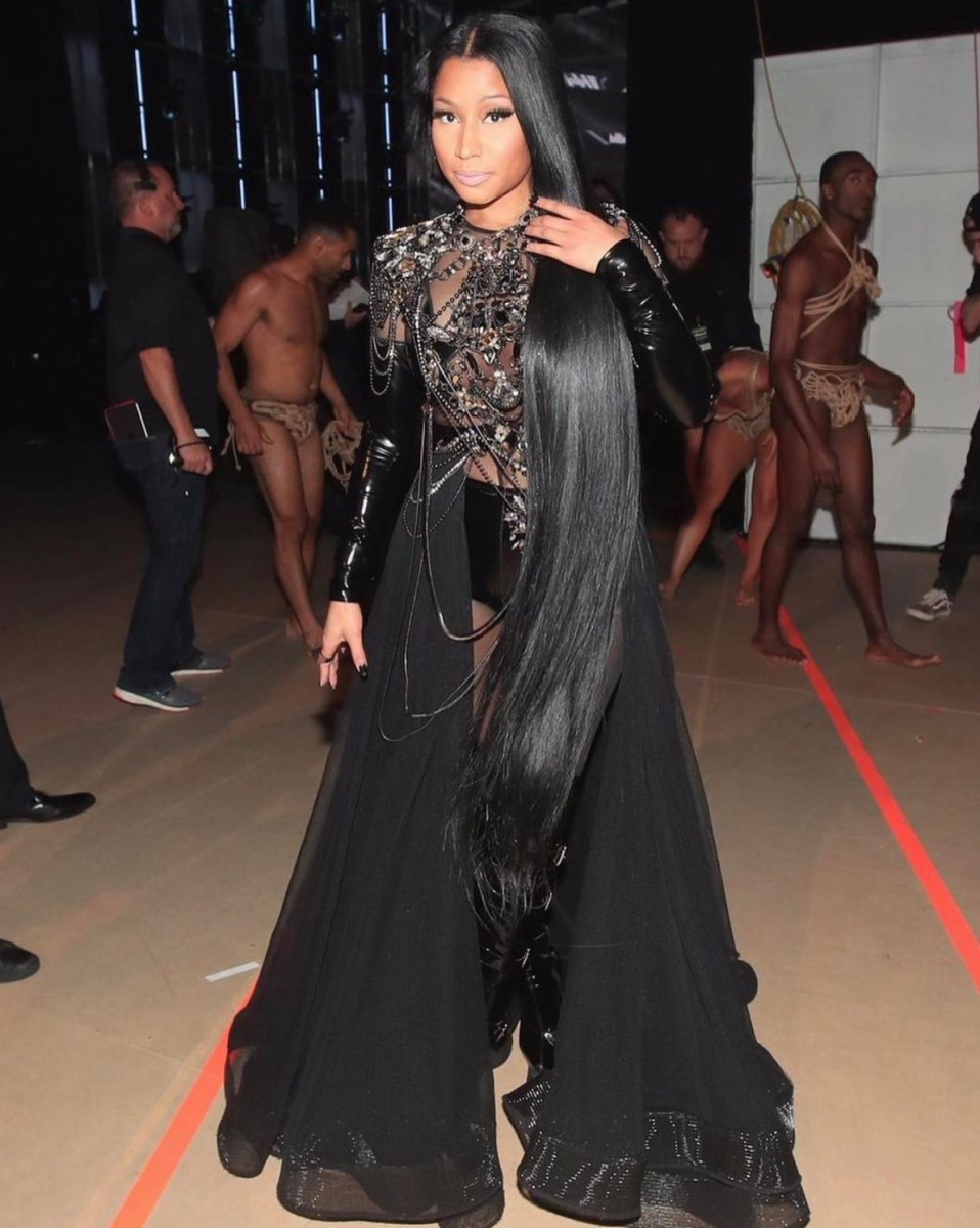 Nicki Minaj Getting Her Black On With Long Black Hair To Match
